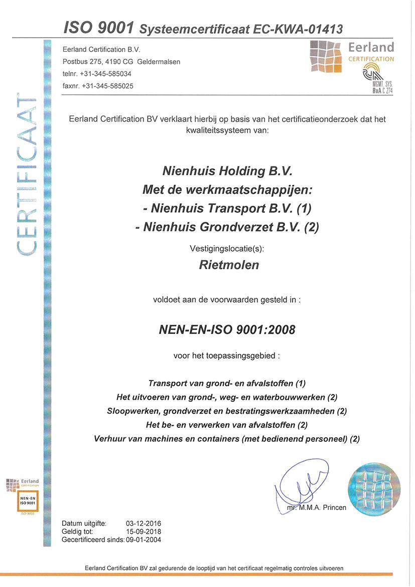 Nienhuis ISO certificaat