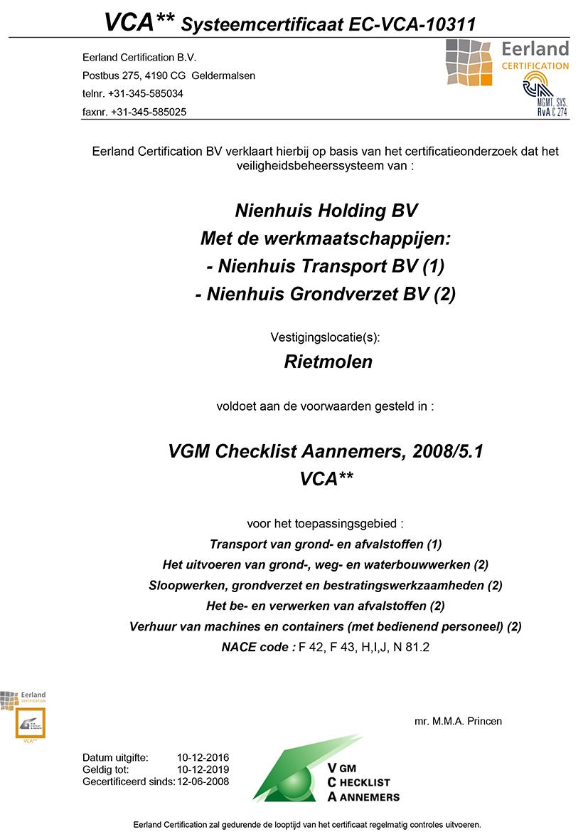Nienhuis VCA certificaat