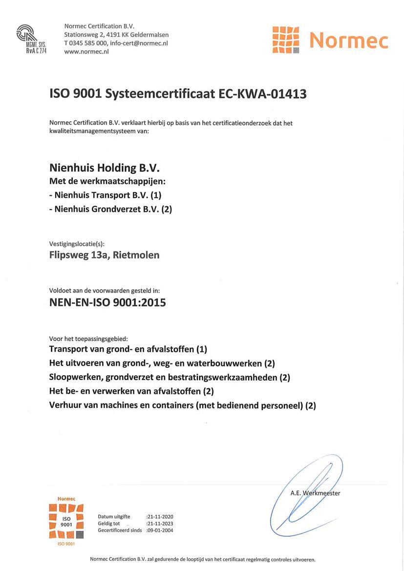 Nienhuis Rietmolen - ISO Certificaat